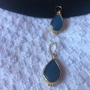 Anna Beck Gold and Blue Quartz Earrings